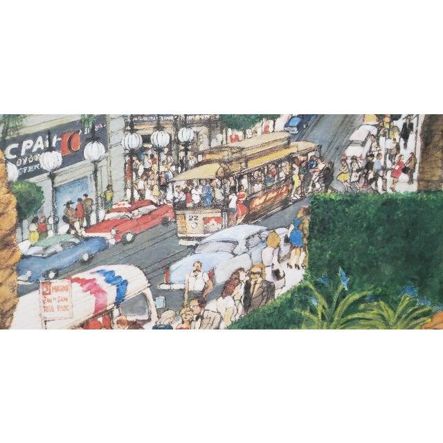 "1980s Franklin McMahon ""Powell Street, San Francisco"" Original Watercolor C.1981 For Sale - Image 5 of 10"