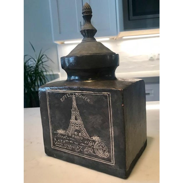 Great-looking jar or pot, with a decorative lid. A substantial weight, the grey, and white colors create an aged look....