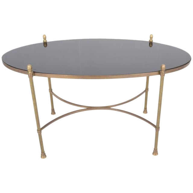 Neoclassical Style Brass and Black Granite Cocktail Table For Sale