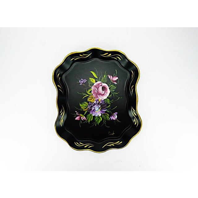 Vintage Hand Painted Floral Tray by Nashco Products - Image 2 of 6