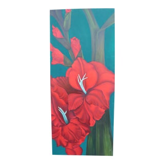 Modern Tropical Floral Still Life Painting
