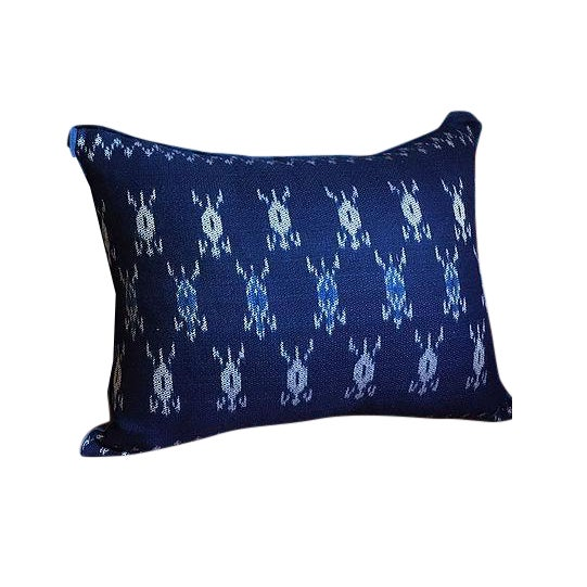 Indigo Ikat Laos Textile Pillow For Sale