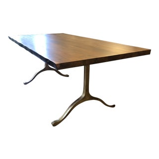 Boho Chic Walnut and Brass Dining Table For Sale