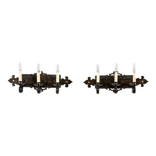 Pair Arts & Crafts Hammered Black Iron Three-Light Wall Sconces For Sale