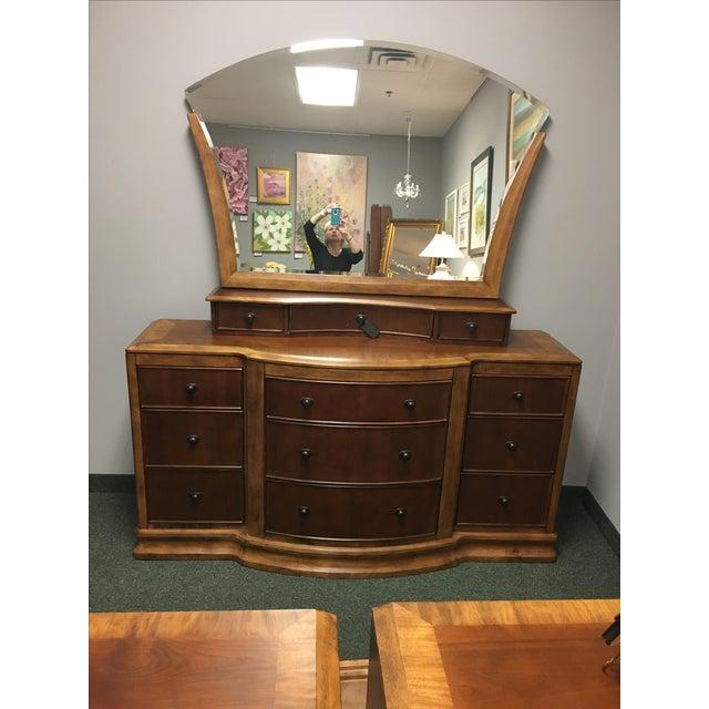 Cherry Primavera Bedroom Dresser with Large Mirror   Chairish