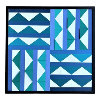 Vintage Collage-Mixed Media Geometric Painting For Sale