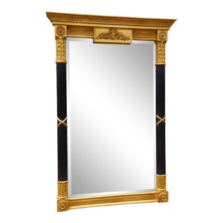 "Black & Gold Neoclassical 50"" Carvers' Guild Fluted Sheraton Mirror For Sale"