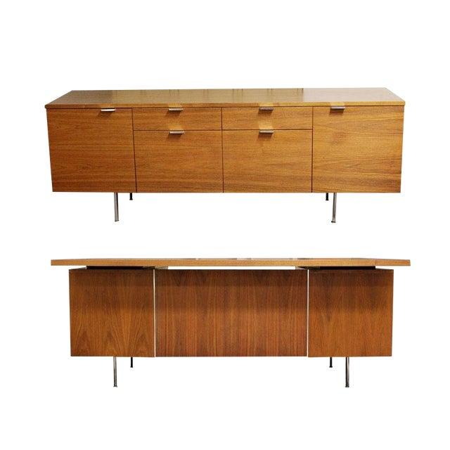 1950s Mid Century Modern George Nelson Herman Miller Walnut Desk & Credenza - 2 Pieces For Sale