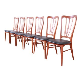 Niels Koefoed for Koefoeds Hornslet Danish Modern Sculpted Teak Ingrid Dining Chairs, Set of Six For Sale