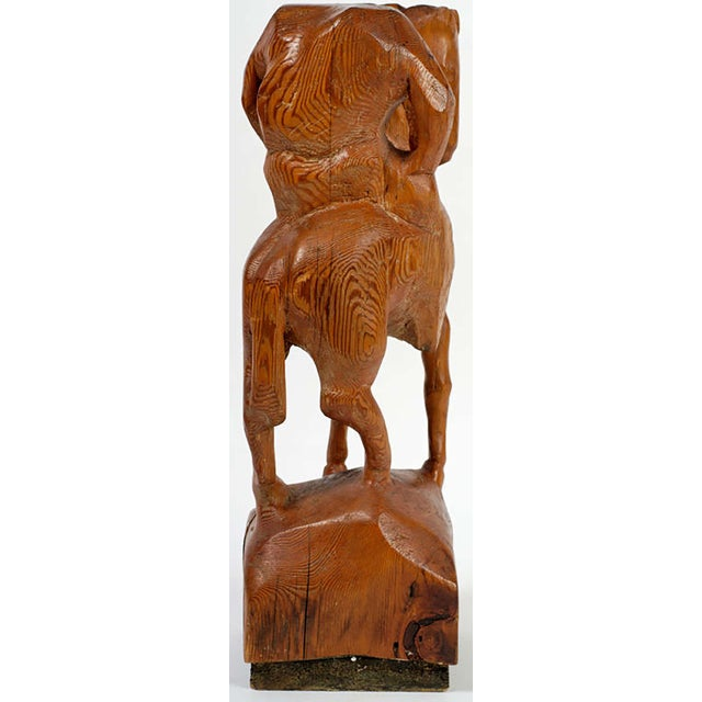 """""""Horse & Weary Rider"""" Large Abstract Carved Wood Sculpture For Sale - Image 4 of 7"""