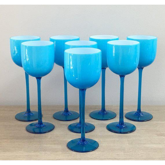 e9372d11683 Blue 1960s Carlo Moretti Blue Wine Glass Set of 8 For Sale - Image 8 of