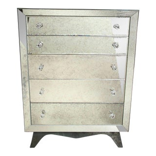 Glamorous Custom Distressed Mirror Tall Dresser For Sale