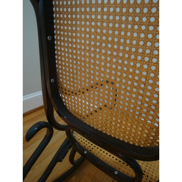 Mid 20th Century Authentic Black Thonet Bentwood Cane Rocking Chair Rocker Model No. 10 For Sale - Image 5 of 8