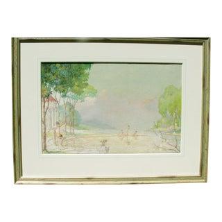 "Circa 1910 ""A Bathing Idyll"" Painting"
