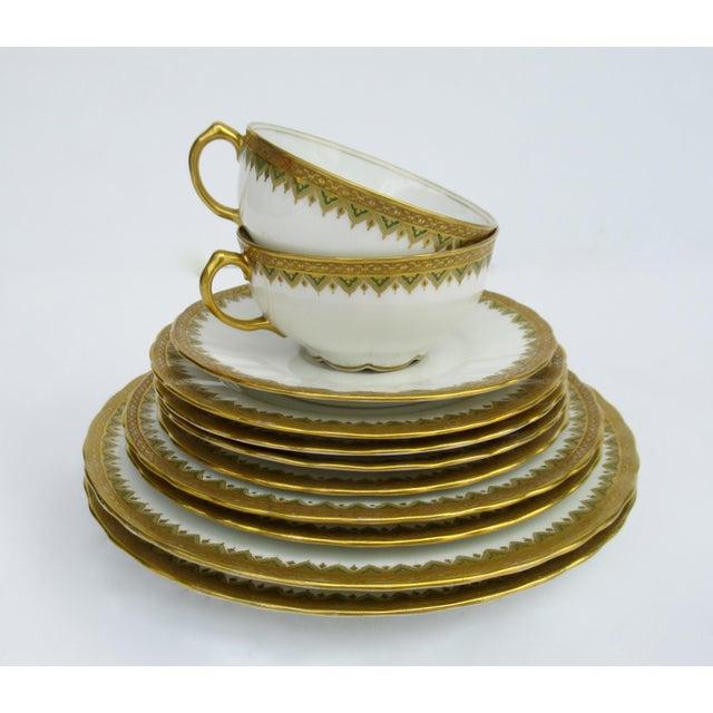 "C1930s French Art Deco Limoges ""Elite Works"" 24k Gilt Gold & Green Rimmed Asst. Dishes & Cups -Set of 11 For Sale - Image 13 of 13"