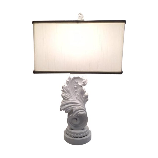 White Lacquer Brocade Table Lamp - Image 1 of 4