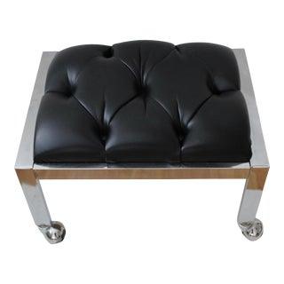 Vintage Chrome Tufted Black Faux Leather Foot Rest Ottoman For Sale