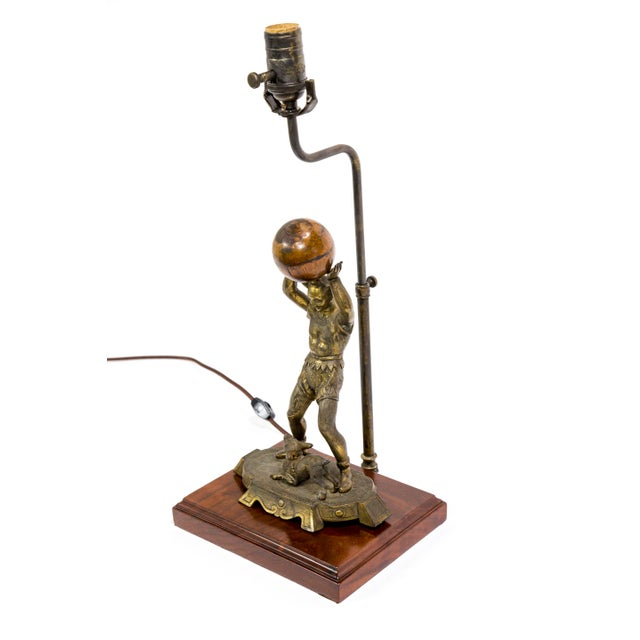 Circus Jester Sculpture With Walnut Ball Lamp For Sale - Image 4 of 13