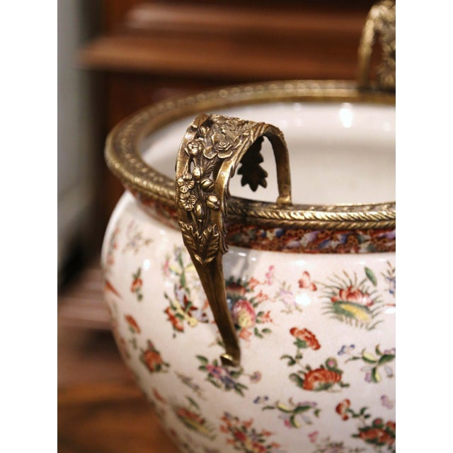 Late 20th Century Mid-Century Chinese Bronze and Painted Porcelain Planter With Butterfly Motifs For Sale - Image 5 of 10