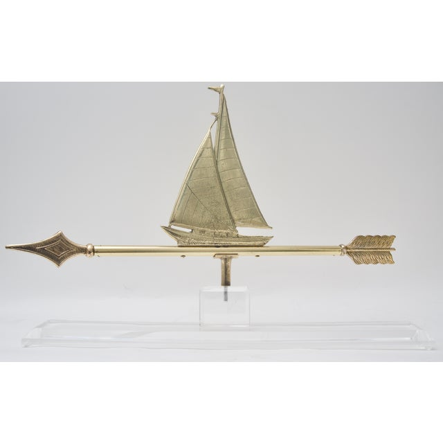 1940s American Polished Brass Sailboat Weather Vane on Lucite Base For Sale In West Palm - Image 6 of 7