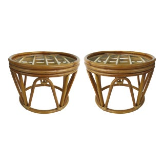 Mid-Century Modern Bent Rattan Side Tables W/ New Glass Tops- a Pair For Sale
