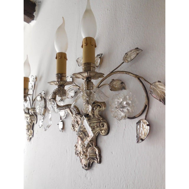 Housing two lights each. Adorning florets and glass leaves. Detailed silver bottoms with great patina. Beaded arms. Rare...
