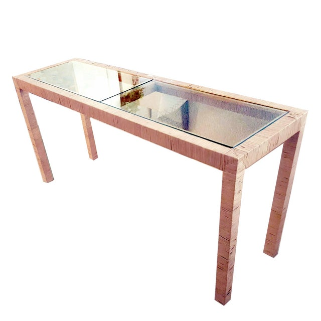 1980s Bielecky Brothers Wicker Papyrus Reed Wrapped Console Table with Inlaid Glass Top For Sale - Image 5 of 11