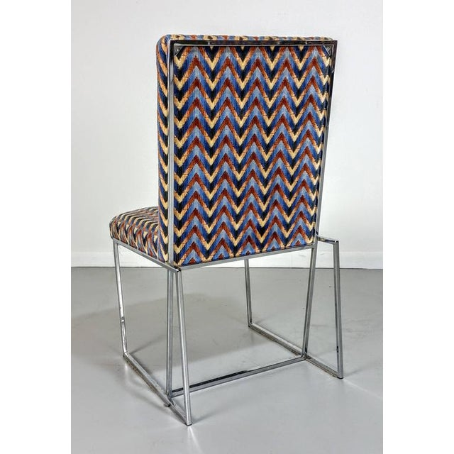1970s Milo Baughman Style Chrome Dining Chairs - Set of 6 - Image 6 of 6