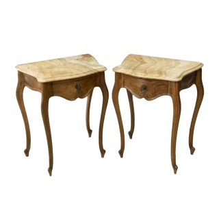 Vintage Country French Louis XV Style Walnut Nightstand or Side Table -A Pair For Sale