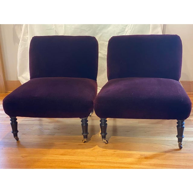 Metal Vintage Velvet Slipper Chairs- a Pair For Sale - Image 7 of 7