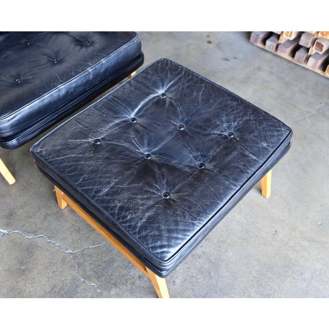 Edward Wormley for Dunbar Leather Lounge Chair and Ottoman Circa 1957 For Sale - Image 10 of 13