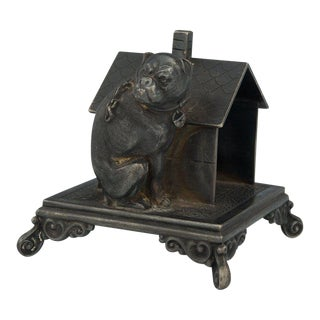 Victorian Figural Quadruple Silver-Plated Bulldog Napkin Holder, Collectable, Table Accessory, a Cute Dog Sitting Outside the Doghouse For Sale