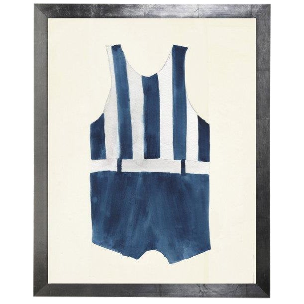 "Male Blue Stripe Swimsuit Watercolor Print - 15"" X 19"" For Sale"