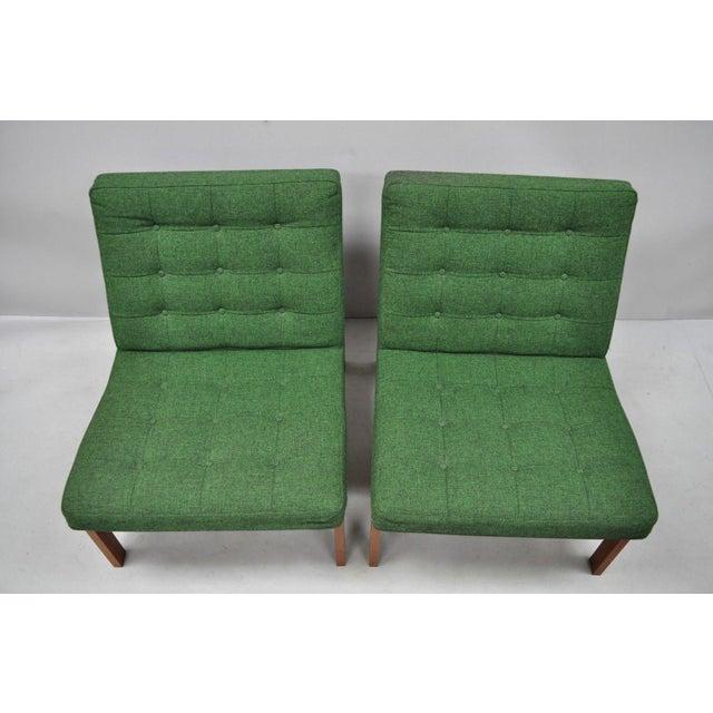 Pair of Gjerlov Knudsen & Torben Lind for France & Son Green Teak Moduline Slipper Chairs. Item features original green...