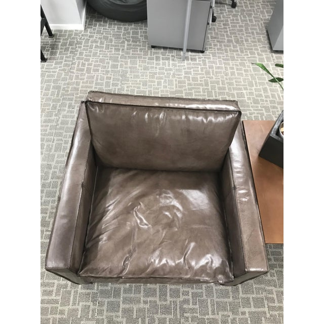 Gray Romanian leather lounge chair. Handsome and timeless this is a perfect fit for your traditional library or rustic...