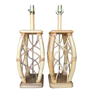 Vintage Mid-Century Modern Rattan Lamps-Pair For Sale