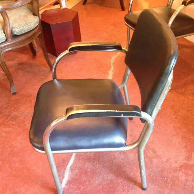 Mid-Century Deco-Style Tubular Chrome Armchairs - a Pair For Sale - Image 4 of 9