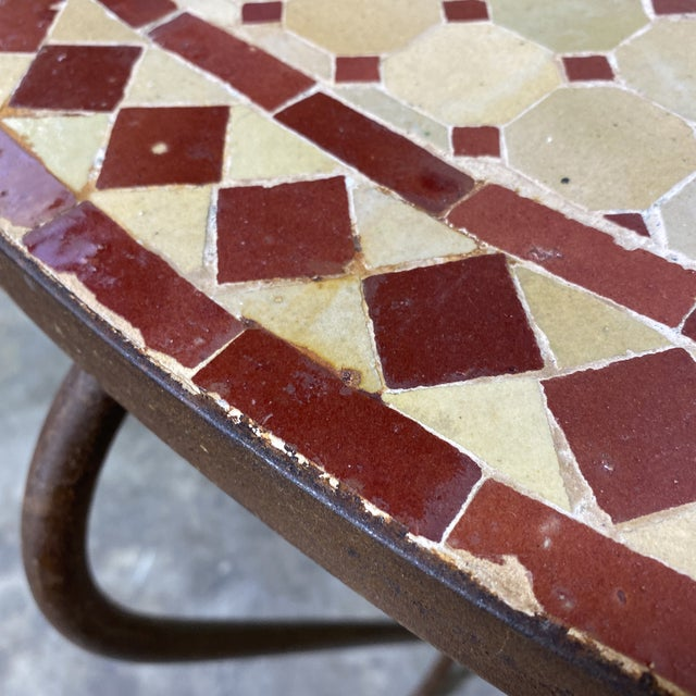 Metal Terra-Cotta Mosaic Tile and Iron Console For Sale - Image 7 of 11