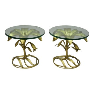 Vintage Arthur Court Gold Lily Flower Leaf Round Glass Top Side Tables - a Pair For Sale