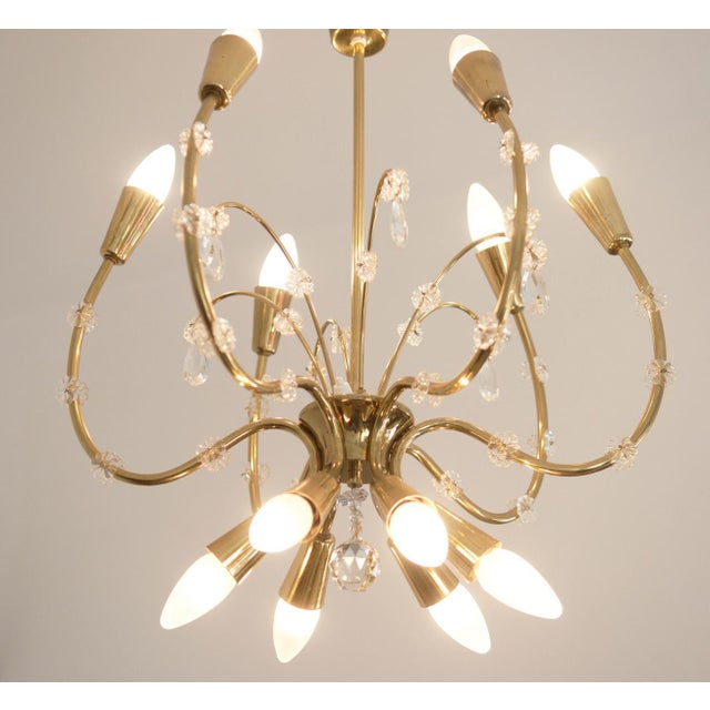 Rupert Nikoll Mid-Century Brass Chandelier by Emil Stehnar for Rupert Nikoll For Sale - Image 4 of 8