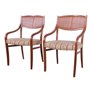 Barney Flagg for Drexel Parallel Walnut and Cane Armchairs, Pair For Sale