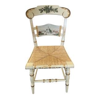 Vintage Limited Edition Hancock Christmas Rush Seat Side Chair For Sale