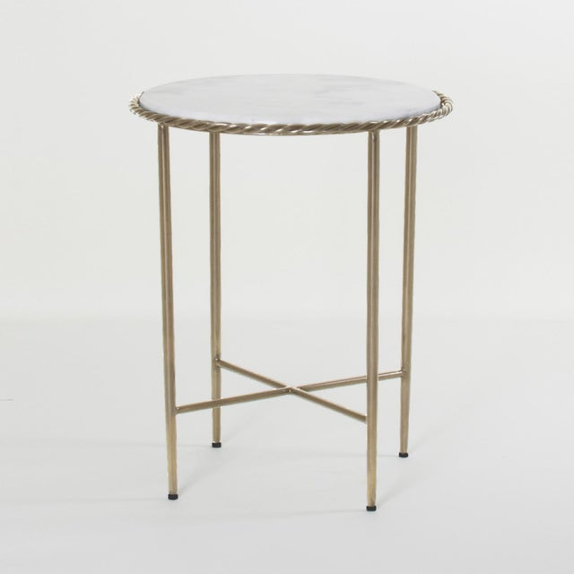 White Antique Marble Top & Brass End Table For Sale - Image 8 of 8