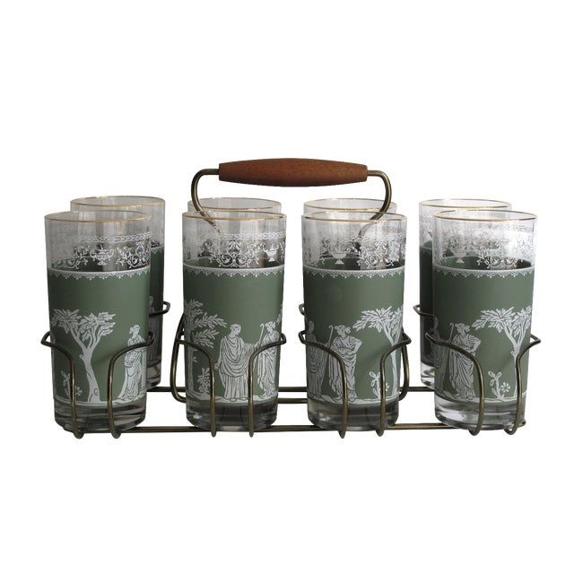Neoclassical High Ball Glasses & Caddy - Set of 9 - Image 1 of 9