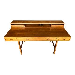 Peter Løvig Nielsen Jens Quistgaard Teak Flip Top Desk - Mid Century Danish Modern Scandinavian Partners Desk Standing Desk For Sale
