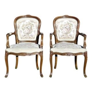 Pair Chateau d'Ax French Provincial Tapestry Fauteuil Bergere Arm Chairs Italy For Sale