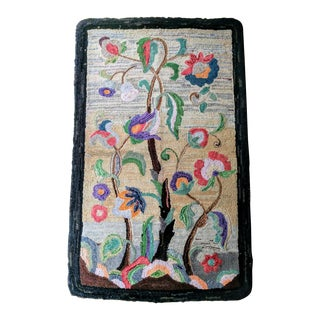 Vintage Shabby Chic Wool 'Primitive' Hook Wall Hanging Rug For Sale
