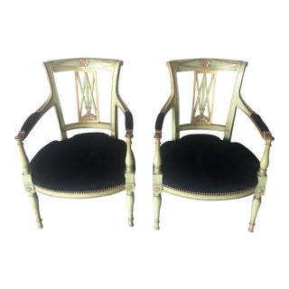 Vintage Black Upholstered Painted Bergere Chairs - a Pair