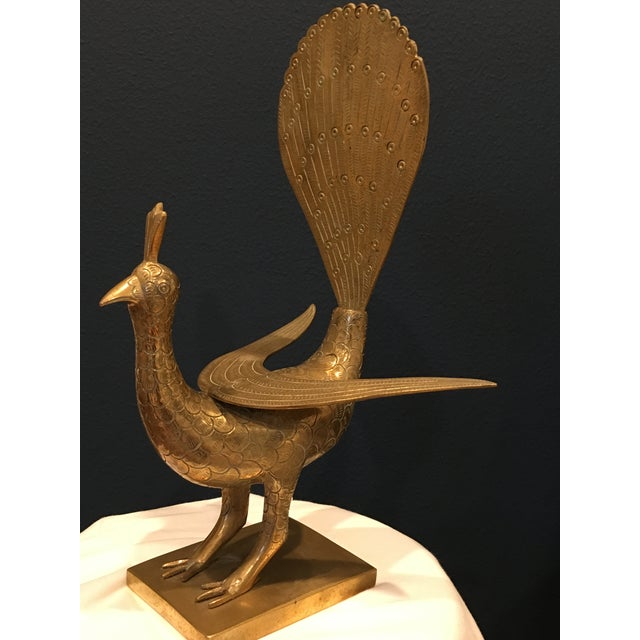 Mid 20th Century Mid-Century Solid Brass Peacock For Sale - Image 5 of 8