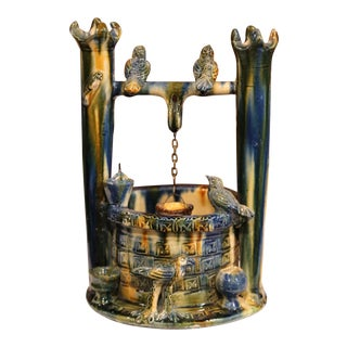 Late 19th Century French Hand-Painted Barbotine Well With Birds From Vallauris